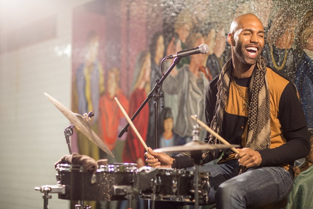 Drumming Cyborg and Troy Weekes Music in Times Square